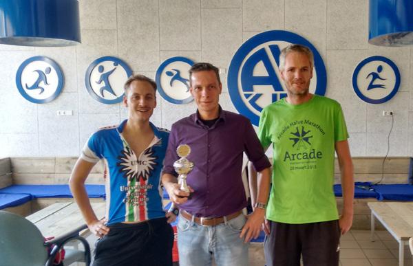 Het podium. Vlnr: David van Kerkhof (2), Raoul van Ketel (1), Rutger Kramer (3)
